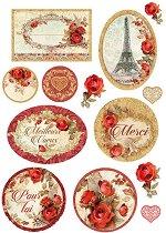 Декупажна хартия - Червени рози и рамки - Формат А4