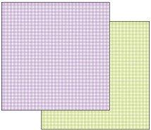 Хартия за скрапбукинг - Лилаво и зелено каре - Размери 30.5 х 30.5 cm