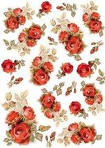 Декупажна хартия - Червени рози - Формат А4