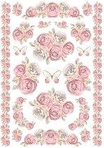 Декупажна хартия - Рози и пеперуди - Формат А4