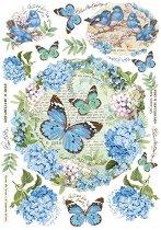 Декупажна хартия - Хортензии и пеперуди - Формат А4