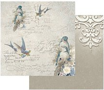 Хартия за скрапбукинг - Английски птици - Размери 30.5 х 30.5 cm