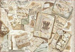 Декупажна хартия - Картички и дантели - Размери 50 x 35 cm