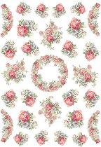 Декупажна хартия - Венец и герлянди от рози - Формат А4