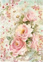 Декупажна хартия - Рози и маргаритки - Формат А4