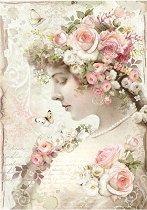 Декупажна хартия - Жена и рози - Формат А4