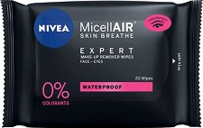 "Nivea MicellAIR Expert Waterproof Make-up Remover Wipes - Почистващи кърпички от серията ""MicellAIR Expert"" - продукт"