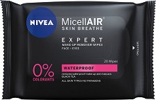 "Nivea MicellAIR Expert Waterproof Make-up Remover Wipes - Почистващи кърпички от серията ""MicellAIR Expert"" - крем"
