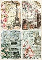 Декупажна хартия - Пощенски картички - Формат А4