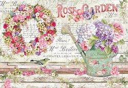 Декупажна хартия - Розова градина - Размери 50 x 35 cm