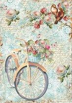 Декупажна хартия - Колело с цветя - Формат А4