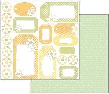 Хартия за скрапбукинг - Цветни етикети - Размери 30.5 х 30.5 cm
