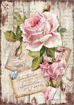Декупажна хартия - Нежни рози - Формат А4