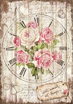 Декупажна хартия - Часовник с рози - Формат А4
