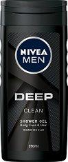 """Nivea Men Deep Clean Shower Gel - Душ гел за мъже от серията """"Deep"""" - лак"""