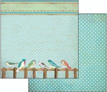 Хартия за скрапбукинг - Птици и точки - Размери 30.5 х 30.5 cm