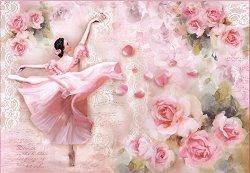 Декупажна хартия - Танцьорка и рози - Размери 50 x 35 cm