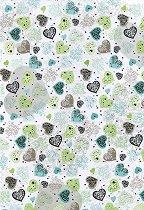 Картон за скрапбукинг - Големи зелени сърца - Формат А4