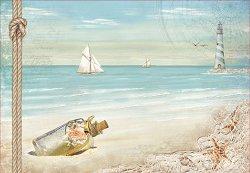 Декупажна хартия - Бутилка от морето - Размери 50 x 35 cm