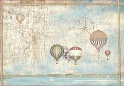 Декупажна хартия - Балони над плажа - Размери 50 x 35 cm