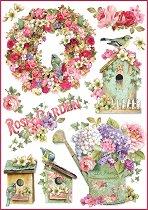 Декупажна хартия - Градина от рози - Формат А4