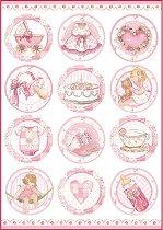 Декупажна хартия - Розови бебешки мотиви - Формат А4