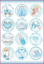 Декупажна хартия - Сини бебешки мотиви - Формат А4