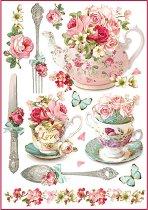 Декупажна хартия - Сервиз за чай - Формат А4