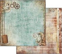 Хартия за скрапбукинг - Часовников механизъм - Размери 30.5 х 30.5 cm
