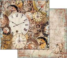 Хартия за скрапбукинг - Часовници - Размери 30.5 х 30.5 cm