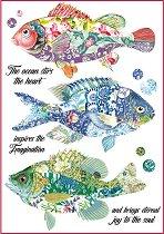 Декупажна хартия - Фантастични риби - Формат А4
