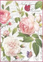 Декупажна хартия - Писмо с рози - Формат А4