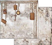 Хартия за скрапбукинг - Верижки и ключове - Размери 30.5 х 30.5 cm