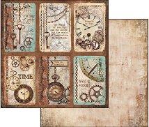 Хартия за скрапбукинг - Тагове с часовници - Размери 30.5 х 30.5 cm