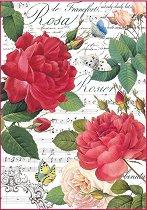 Декупажна хартия - Музика и рози - Формат А4