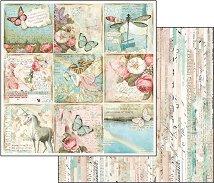 Хартия за скрапбукинг - Еднорог и пеперуди - Размери 30.5 х 30.5 cm