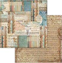 Хартия за скрапбукинг - Ноти - Размери 30.5 х 30.5 cm