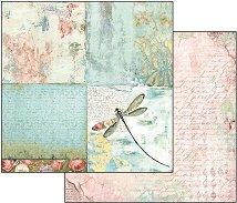 Хартия за скрапбукинг - Водно конче и рози