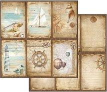 Хартия за скрапбукинг - Морски тагове - Размери 30.5 х 30.5 cm