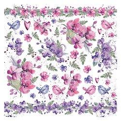 Декупажна хартия - Цветя и птици - Размери 50 x 50 cm