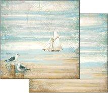 Хартия за скрапбукинг - Чайки - Размери 30.5 х 30.5 cm