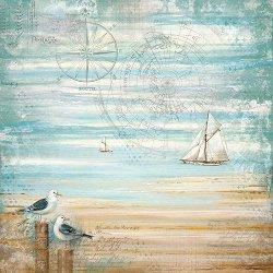 Декупажна хартия - Чайки на плажа - Размери 50 x 50 cm