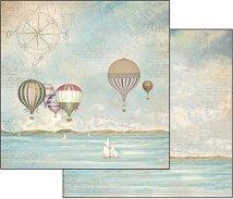 Хартия за скрапбукинг - Балони над морето - Размери 30.5 х 30.5 cm