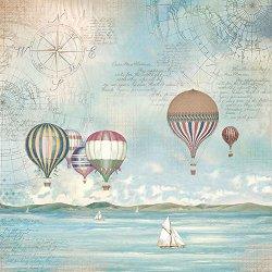 Декупажна хартия - Балони над морето - Размери 50 x 50 cm