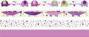 Декоративно тиксо - Слончета, крокодилчета, точки и линии - Комплект от 4 броя