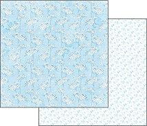 Хартия за скрапбукинг - Син флорален гоблен - Размери 30.5 х 30.5 cm