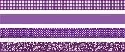 Декоративно тиксо с лилави мотиви - Комплект от 4 броя