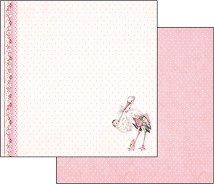 Хартия за скрапбукинг - Щъркел с момиченце - Размери 30.5 х 30.5 cm