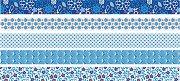 Декоративно мини тиксо - Сини флорални мотиви - Комплект от 5 броя и диспенсър