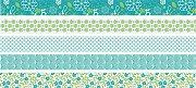 Декоративно мини тиксо - Зелени флорални мотиви - Комплект от 5 броя и диспенсър